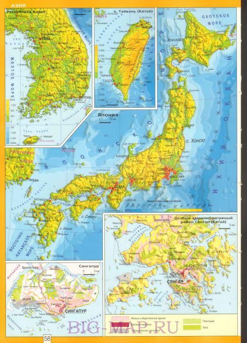Карта на русском языке япония и корея